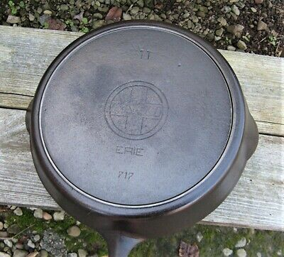 Rare Antique Griswold Cast Iron No 11 Slant Logo Skillet with Heat Ring p/n 717