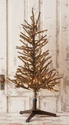 New Primitive Country Rustic GERMAN PINE TWIG CHRISTMAS TREE WHITE LIGHTS 6 ft.