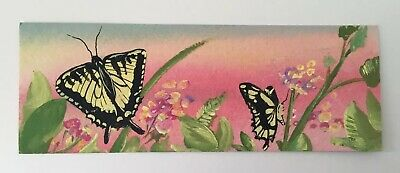 ACEO ATC DOUBLE OOAK, original Painting, Swallowtail Butterfly Floral Bookmark