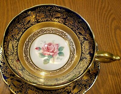 Paragon PINK CABBAGE ROSE Cobalt Blue Heavy Gold Gilt Tea Cup and Saucer