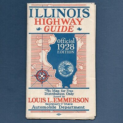 1928 IL Illinois OFFICIAL HIGHWAY GUIDE Road Map With Route 66, No Pinholes VG+