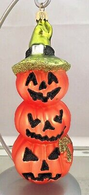 """Large Glass Ornament Halloween Stacked Pumpkin Trio 6"""" Tall Witch Hat Glitter"""