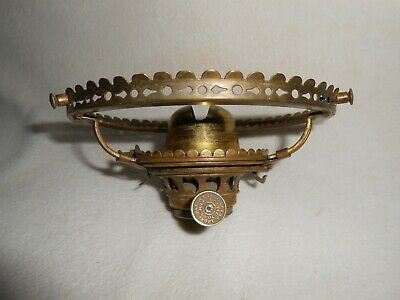 Antique 5 inch. Shade Holder and Dated 1860 - 1867 Oil Lamp Burner