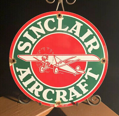 Vintage Sinclair Aviation Gasoline Porcelain Sign Service Station Gas Pump Plate