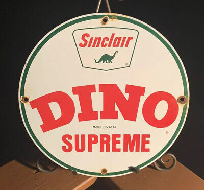 Vintage Sinclair Dino Gasoline Porcelain Sign Service Station Gas Pump Plate Oil
