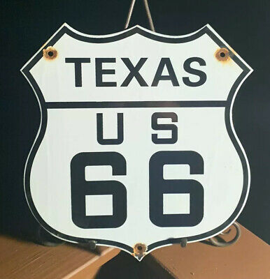 Vintage Us Route 66 Texas Porcelain Metal Sign Gas 11 3/4 Oil Road Hwy Lone Star