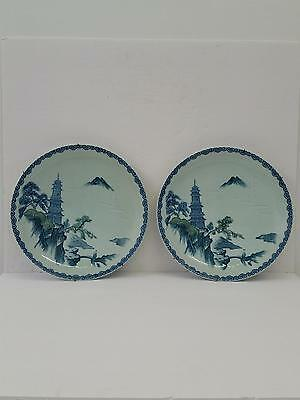 Antique Pair of Chinese Hand Painted Blue & White Chargers Plates Dish