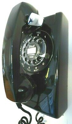 Vintage Western Electric 554 Black Rotary Wall Phone - Polished and Working