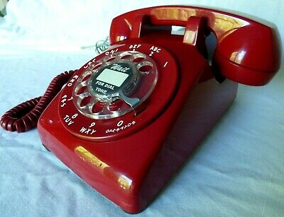 Vintage Western Electric 500 Red Rotary  Phone - Polished and Working