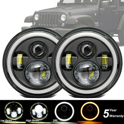 """Pair 7"""" Led Headlights Halo E Marked Rhd For Land Rover Defender 90 110 Black"""