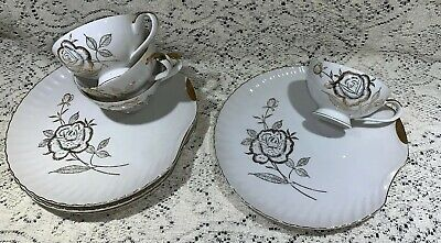 Vintage 1940's Japan Gold Guilded Luncheon/Snack Plates W/Matching Cups 4 Sets