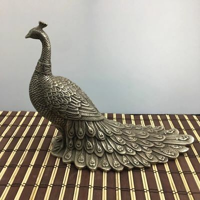 Old Chinese Old tibet Silver Carving Peacock Peafowl Bird Animal Statue