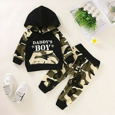 Toddler Infant Baby Boys Camo Hoodie Long Pants Outfits Clothes Set Tracksuit