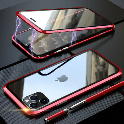 For iPhone 11 Pro Max Magnetic Adsorption Metal Case Double Tempered Glass Cover