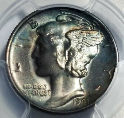 1941 MERCURY DIME PCGS Unc Details BRILLIANT UNCIRCULATED 10c silver ms bu tone