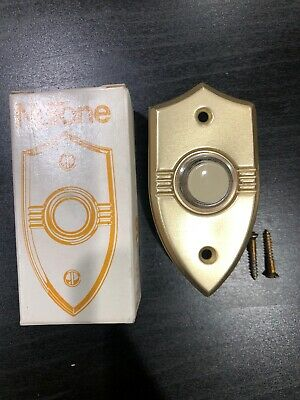 Nos Vintage Nutone Lighted Door Bell Pushbutton Pb-20Lgold Anodized