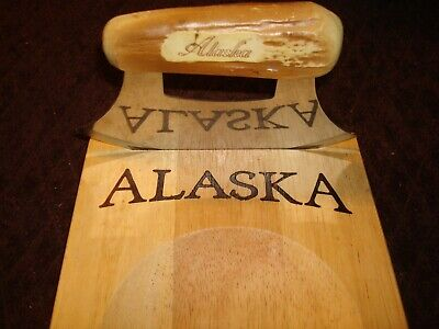 Alaskan Ulu knife with wooden cutting bowl and stand- New
