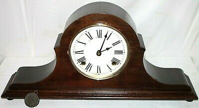 Antique Mahogany Sessions 1910'S Tambour Mantel Clock W/ Cathedral Gong Strike.