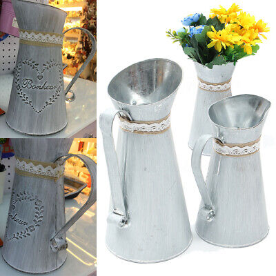 Large/Small Metal Rustic Zinc Iron Flower Jug Vintage Shabby Chic Country Style