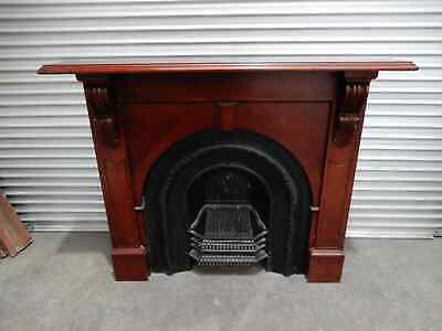 Fireplace - Victorian Style Cast Iron Inner with Timber Mantel, 3j