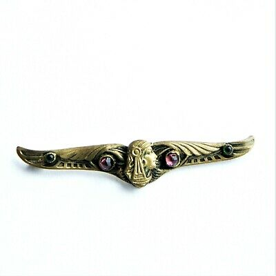 Art Nouveau Egyptian Revival Brass Scarab Wing Nefertiti Pharaoh Bar Brooch