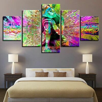 Thinking Buddha Psychedelic Mandala Religion Canvas Print Painting Wall Art 5PCS