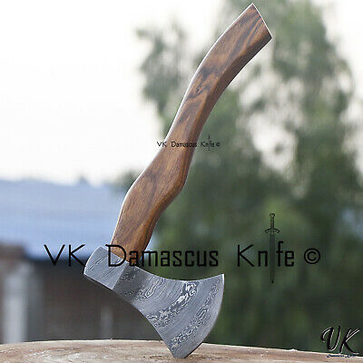 Handmade Damascus Steel Axe Hatchet Tomahawk Knife Rose Wood Handle vk2218