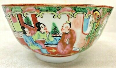 ANTIQUE 19th CENTURY CHINESE ENAMELED HAND PAINTED ROSE MEDALLION PORCELAIN BOWL