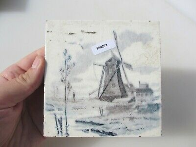 Antique Ceramic Tile Vintage French Village Boats River Cottage Farm Windmill