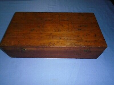 Vintage Large Mahogany Wooden Sewing Box Desk Top Storage Writing Display Work