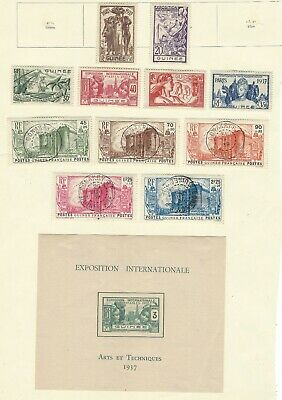 FRENCH GUINEA 1937/1939 collection comp. stamp sets & M/S, old album page cv£124