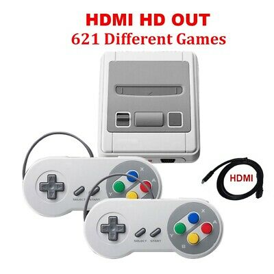 Retro Game Console TV Built-in 621 Games for Super Nintendo With 2 Controller