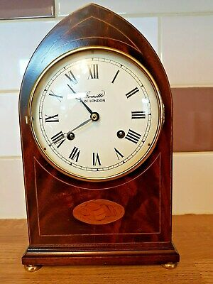 Comitti Of London Mahogany Cased Mantle Clock Lancet Shape