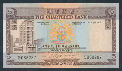 """Hong Kong: CHARTERED BANK 1-6-1975 $5 """"SCARCE DATED ISSUE"""". Pick 73b AUNC"""