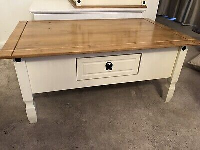 Oak and Cream Corona/mexican Style coffee table With Drawer