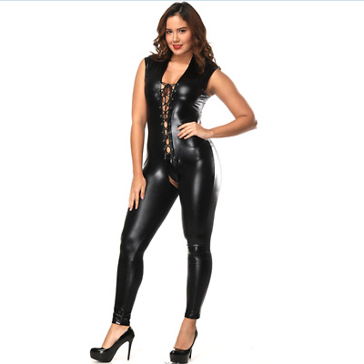 Top Totty Sexy Black Faux Leather Crotchless Open Hip Dominatrix Catsuit