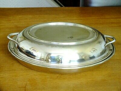 Silver Plated Oval Lidded Turin / Serving Dish By Hb&H