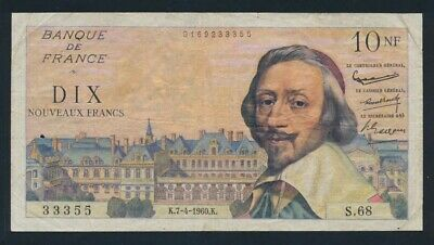 """France: 7-4-1960 10 New Francs RARE LUCKY NUMBER """"333"""". Pick 142a GF"""