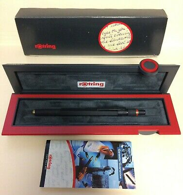 Black Rotring 600 (800) Gold Ballpoint Pen - VINTAGE, Color Dial Knurled w/ BOX