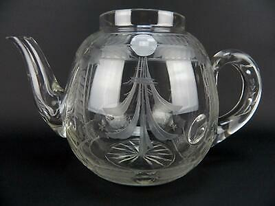 Rare Antique American Brilliant Period ABP Cut Etched Floral Glass Teapot Base
