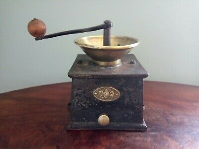 Antique Coffee Grinder Cast Iron, Brass, Wooden Handle, Kendrick's