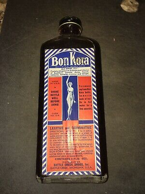 Antique Battle Creek Drugs BON KORA LAXATIVE Apothecary Bottle and Box