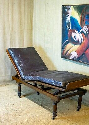 Antique Ilkley day bed, campaign bed, adjustable, couch, chaise, recliner,