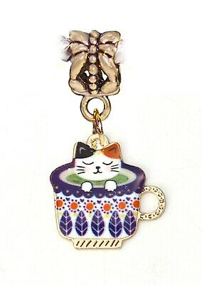 Black Cat in a Teacup Gold Plated Kitty Cup Dangle Charm for European Bracelets
