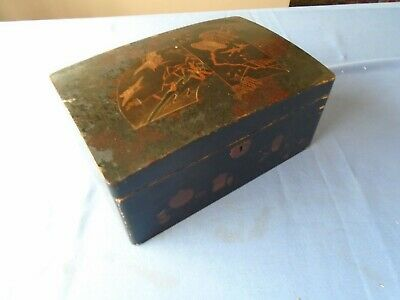 Antique Rare Decorated Wood Papier Mache Desk Top Stationery Trinket Sewing Box