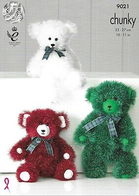 JB302 James C Brett 3 Sizes of Fluffy Teddy Bears Bear Chunky Knitting Pattern