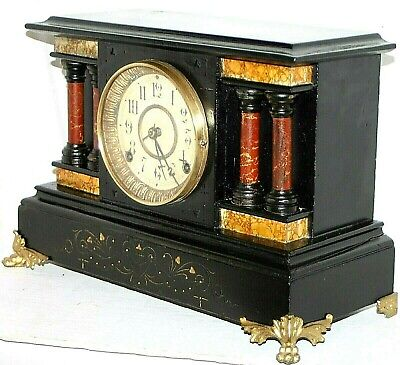 "Antique Seth Thomas 4 Full Pillar Victorian Mantel / Shelf Clock W/ ""St"" Hands"