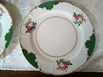 "Vintage Booths Silicon China Green Cream Roses Pattern 9"" Plate/Rimmed Soup Bowl"