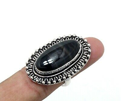 Amazing Look Black Banded Agate Gemstone 925 Silver Jewelry Ring Size 7.50 (US)