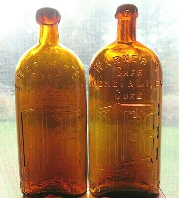 2 Antique WARNER'S SAFE KIDNEY & LIVER CURE 1 with an applied blob top!!